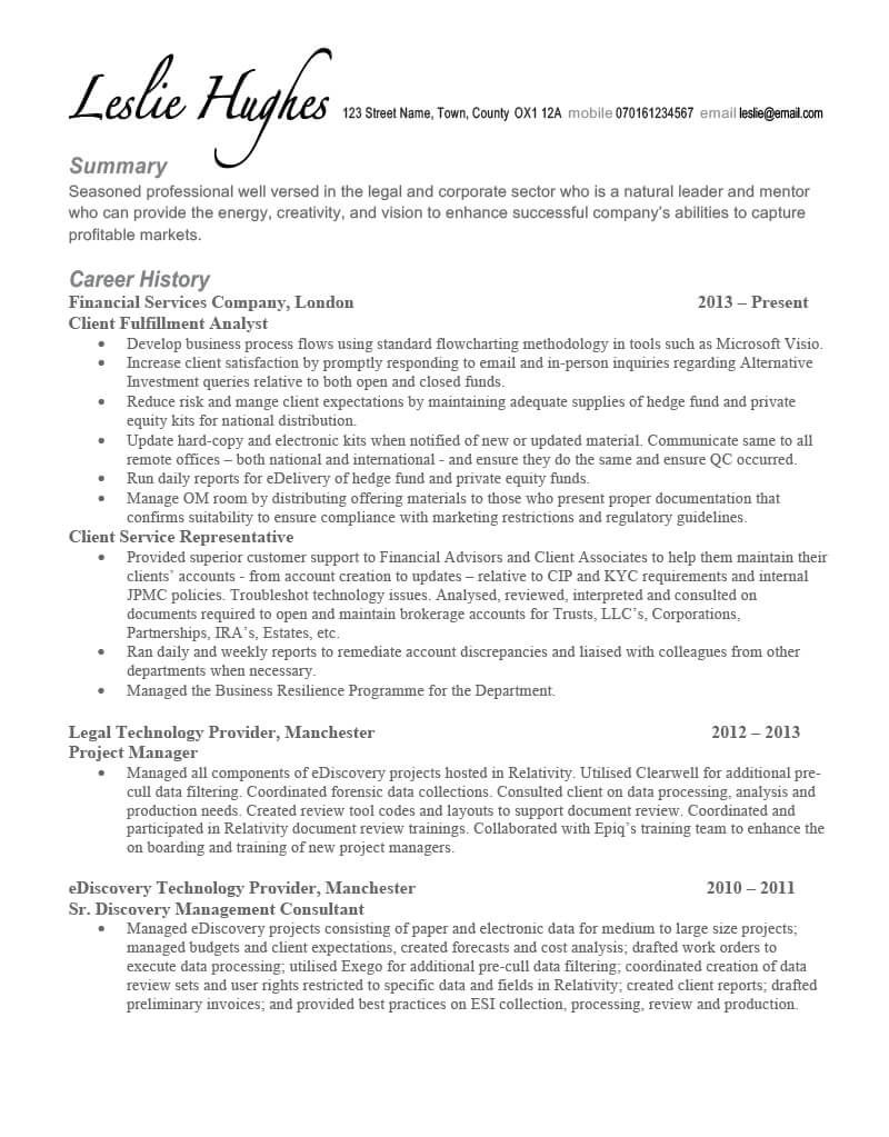 Leslie's CV before TopCV